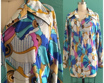 vintage 60's psychedelic leotard shirt // printed body suit blouse
