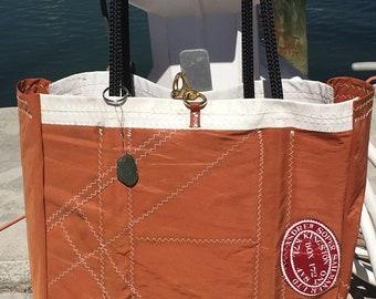 Sail Cloth TANBARK Bag One of a kind XLG handmade by SailAgainBags