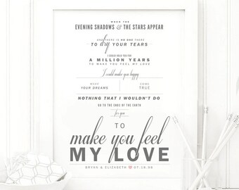 "Bob Dylan ""To Make You Feel My Love"" - Grey and Blush - Valentine's, Wedding Gift, Paper Anniversary Gift, Song Lyrics, Art Print"
