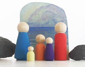 Peg doll family, custom family set, Waldorf toy, Montessori toy, Reggio Emelia toys, open ended play, loose parts