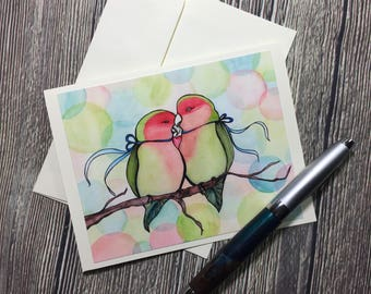 Love Birds Valentine Original Watercolor Print - Ivory Note Card
