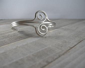 vintage sterling silver cuff bracelet, spiral strands, lightweight, 925 Mexico, dainty