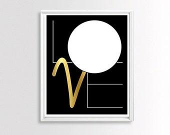 Love Poster Download, Love Printable Wall Art Prints, Geometric Wall Art, Modern Print, Black and Gold Love Wall Decor, Digital Love Print