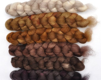 Hand dyed roving -  Blue Faced Leicester (BFL) wool spinning fiber - 6.3 ounces - Oxford