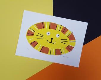 Lion Screenprint - Hand Printed, Limited Run (20) - Nursery or Child's Bedroom Animal Art Decor