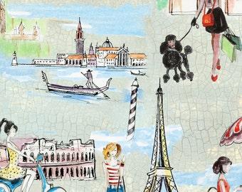 Bridget's Travels, Italy, Rome, Paris, Mint green quilting fabric, Yard