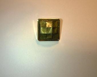 Button square vintage imitation green stone 1.6 cm