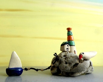 Little colorful lighthouse, Clay house, Miniature boat, Ceramic lighthouse sculpture, Ceramics and pottery home decor, Israeli art, Cute