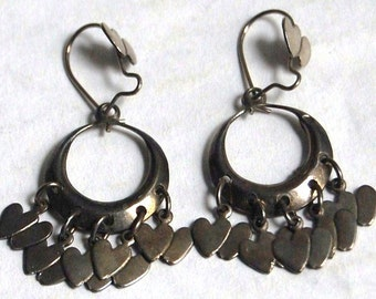 Vintage Metal Heart Dangle Earrings