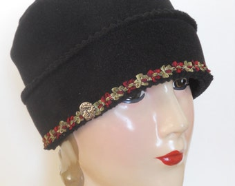 Polar Fleece Hat  - Ladies Black Basic Winter Hat with French Ribbon Trim - Claire