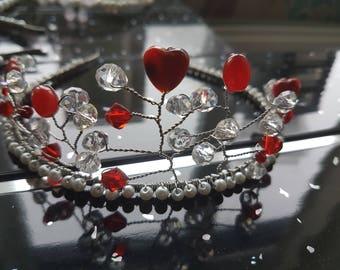 Handmade Red and clear bead tiara