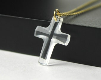 Swarovski Cross Necklace - 14K Gold Filled, Large Crystal Clear Cross - Prom, Graduation Gift, Baptism, Bridesmaid Jewelry