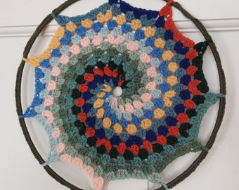 Mandala wall hanging, colourful crochet spiral sure to delight your eyes