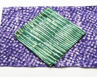 SALE:  Cotton Cloth Placemat- Purple Dot- Hand Batik Block Printed- Set of 4