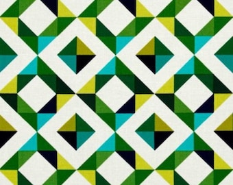 Robert Kaufman Geo Pop Diamond Canvas Fabric Green Teal Cream Navy 50cm Geometric Cotton