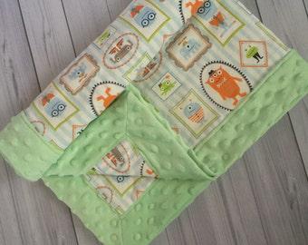 Minky Baby Blanket - Monsters Baby Blanket