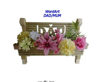 Bench Planter Word Art with Heart