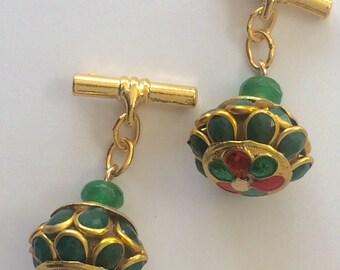 Emerald & Ruby  Gilt chain link cufflinks