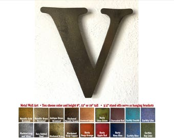 """Metal Letter V - 8"""", 12"""", 16"""" or 22"""" inch tall - Handmade metal wall art - Choose your Patina Color, Size and Letter or Number - Metal Decor"""