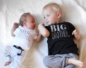 Little Brother Big Brother toddler tee and Bodysuit set, coming home outfit, birthday, newborn, bodysuit, brother, sibling