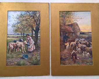 After N DRUMMOND Two Vintage Coloured Prints Milk Maid with Cow Calf and Shepherd & Dog English Landscape