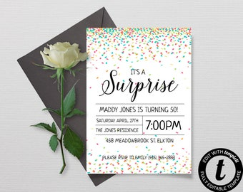 Confetti Birthday Invitation, Surprise Party Invitation, Birthday Party Template, Printable DIY Party Invitation, Instant Download