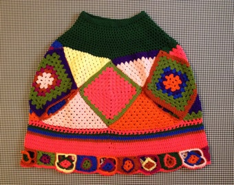1970's, handmade, bright, colorful, afghan shawl, Women's size Small