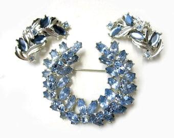 Vintage Blue Rhinestone Brooch Wedding Brooch Blue Wreath Vintage Pastel Blue Plus Bonus Earrings