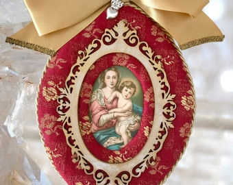 Unique Our Lady and Baby Jesus, Handmade Plaque, Catholic Christian Religious Altar