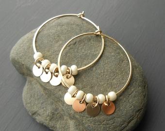 Gold Hoop Disc Earrings, Gold Filled Medium Hoops