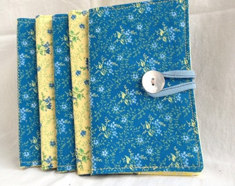 Yellow and blue flower tea bag wallet / Floral tea bag case / cotton wallet / credit card wallet / gift for tea drinker