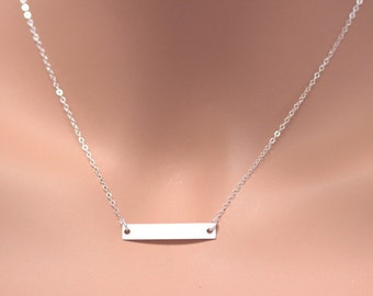 Sterling Silver Bar Necklace. Layered Necklace, Sterling Silver Plane Bar pendent. Initial Necklace, Celebrity Bar Necklace Personalized