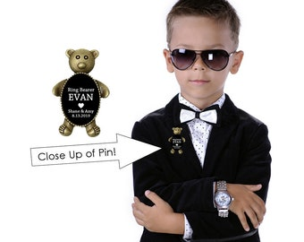 Ring Bearer Pin- Ring Bearer Gift- Ring Bearer Bear- Ring Bearer Keepsake