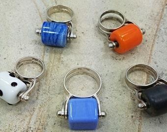 Interchangeable Ring. Handmade Glass Bead. Silver Ring. Lampwork RIng. Women's Ring. Colorful ring. Glass ring. Chunky ring. Unique rings.