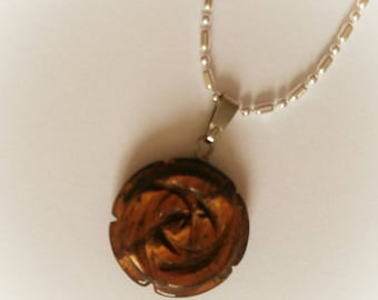Child size -  tigers eye rose necklace