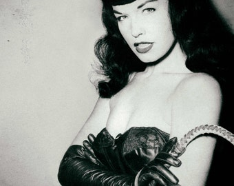 Bettie Page photo, print, poster BDSM dominatrix mistress vintage erotic photography fetish kinky photograph- PRINT
