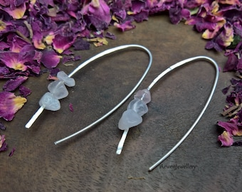 Rose Quartz earrings. Sterling silver earrings. Silver jewellery UK. Crystal jewellery. Crystal earrings. Stone jewellery. Stone earrings.