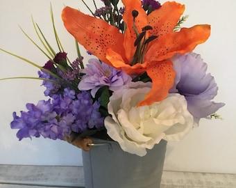 Spring Floral, Farmhouse Decor, FarmToFork Decor, Tin Bucket Container, Tin Decor