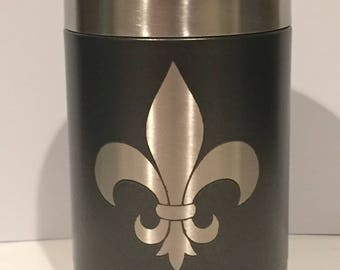 Fleur-de-lis Can Cooler Tumbler stainless steel powder coat New Orleans Mardis Gras