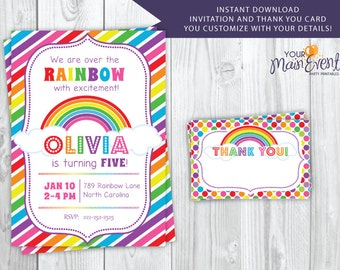 Rainbow Birthday Invitation and Thank You Card, Personalized Colorful Rainbow Birthday Party Invites