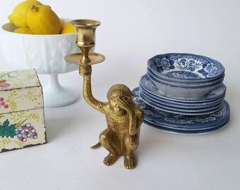 Vintage Brass Monkey See No Evil Candlestick Holder