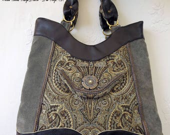Tapestry Paisley Patterned Handmade Luxury Hobo Bag Grey and Khaki Bag Gift for Her Vegan Leather Brass Hardware Compartments Velvet Accent
