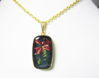 Small Verbena on dark Teal,  Pressed Flower Pendant, Real Flower Necklace, Resin, (1972)