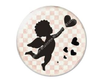 resin cabochon mounted on a stick 25 mm Valentine Cupid 9