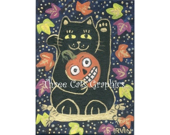 Evil Spirits Beware! The Black Neko & His Lucky Jack O'Lantern - Choose from ACEO Print, Note Card with Stickers, or Art Print