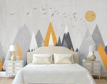 Kids Mountain Removable Wall Mural Triangle Mountain for Kids Peel & Stick Wallpaper Self-Adhesive Snow Cap Mountain Nursery Wall Decal