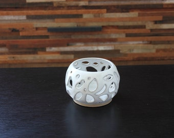 White Ceramic Luminary ~ Candle Holder