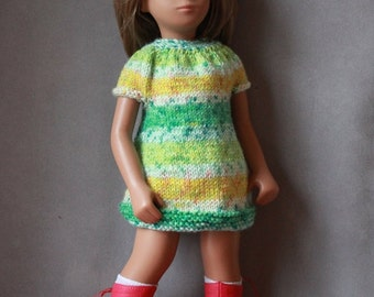 Lime Surprise, Hand Knitted Dress for Vintage Sasha Doll