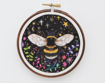 "Cosmic Bumblebee - Hand Embroidered Hoop Art 4"" Original"