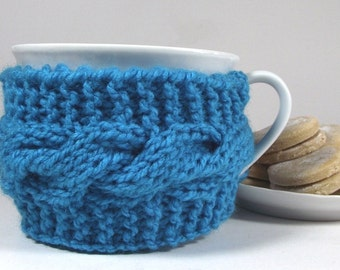 KNITTING PATTERN Cozy Cup - Lazy Morning Coffee Knit Mug Cozy Sleeve Pattern Tea Cozy Pattern Pdf File Instant Download Cable knit cozy cup